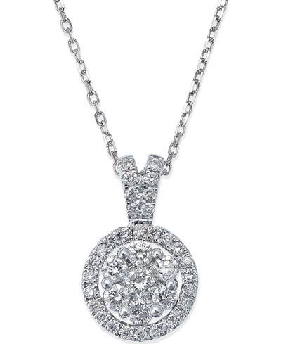 Diamond circle pendant necklace in 14k white gold 12 ct tw diamond circle pendant necklace in 14k white gold 12 ct tw aloadofball Images