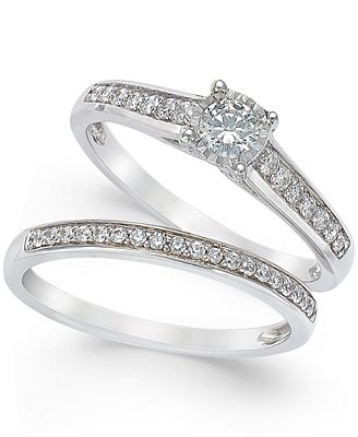 TruMiracle Diamond Engagement Ring and Wedding Band Set 12 ct