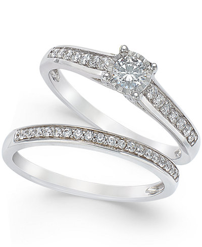 trumiracle diamond engagement ring and wedding band set 12 ct tw - Engagement Ring And Wedding Band Set