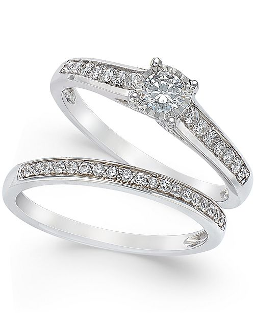 Engagement Ring And Wedding Band.Trumiracle Diamond Engagement Ring And Wedding Band Set 1 2 Ct T W In 14k White Gold