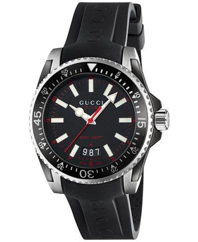 Gucci Unisex Dive Black Rubber Strap Watch 40mm YA136303
