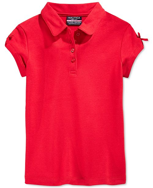 Nautica Little Girls School Uniform Bow-Sleeve Polo