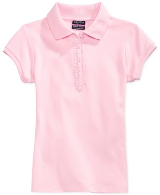 Image of Nautica School Uniform Ruffle Button Placket Polo, Big Girls