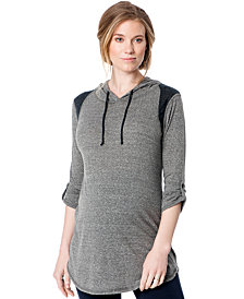 Loveappella Maternity Contrast Hoodie Tunic