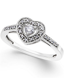 Diamond Heart Promise Ring in Sterling Silver (1/5 ct. t.w.)