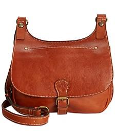 Heritage London Smooth Leather Crossbody Saddle Bag