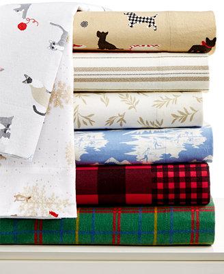 Closeout Martha Stewart Collection Novelty Flannel Sheet