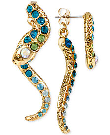 Betsey Johnson Gold-Tone Pavé Crystal Snake Front and Back Earrings