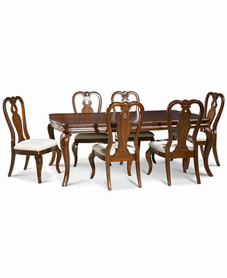 Bordeaux 7 Pc Dining Room Set Table 6 Queen Anne Side Chairs Furni