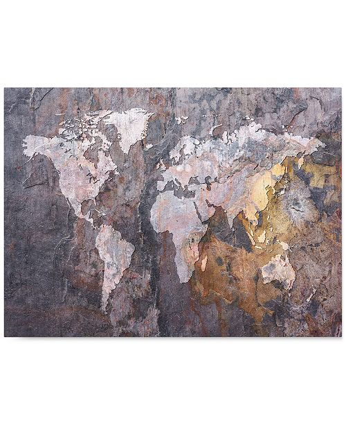 "Trademark Global 'World Map Rock' Canvas Print by Michael Tompsett, 18"" x 24"""
