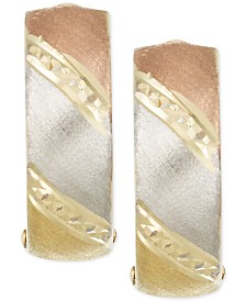 Tri-Tone Hoop Earrings in 14k Gold