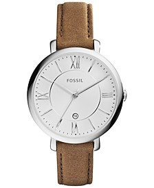 Women's Jacqueline Saddle Leather Strap Watch 36mm ES3708