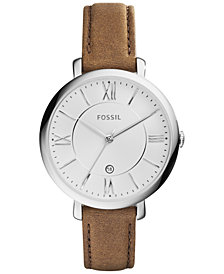 Fossil Women's Jacqueline Saddle Leather Strap Watch 36mm ES3708
