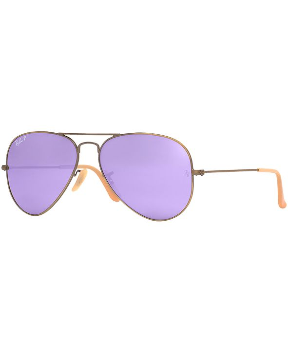 Ray-Ban Polarized Original Aviator Mirrored Sunglasses, RB3025 58