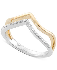 Wrapped™ Diamond Midi Ring (1/10 ct. t.w.) in 10k Yellow and White Gold, Created for Macy's