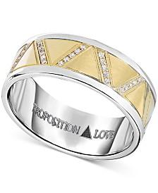 Proposition Love Men's Diamond Wedding Band (1-1/10 ct. t.w.) in 14K Yellow Gold & Cobalt