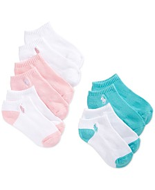 Polo Ralph Lauren 5-Pack Cushion No-Show Socks, Little Girls & Big Girls
