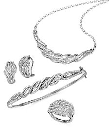 Wrapped in Love™  Diamond Twist Earrings, Necklace, Bangle and Ring (4 ct. t.w.) in Sterling Silver, Created for Macy's