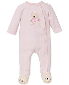 Baby Girls Sweet Bear Footed Coverall