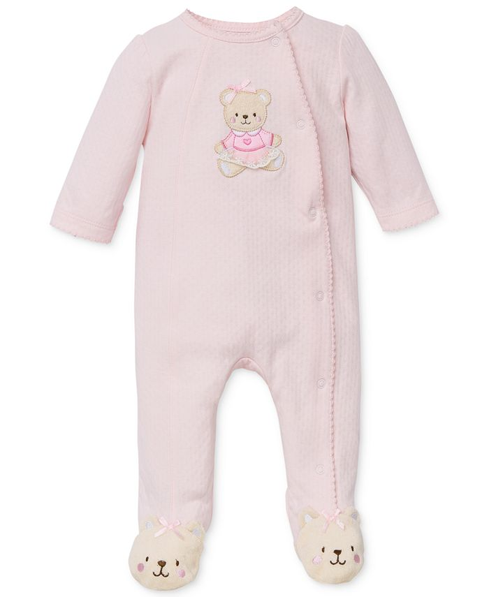 Little Me - Baby Girls' Sweet Bear Footed Coverall