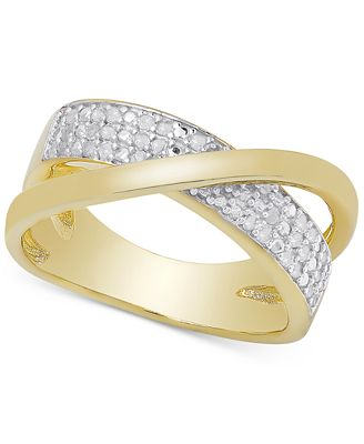 Diamond Crossover Ring in Sterling Silver or 18k Gold over Sterling Silver (1/4 ct. t.w.)