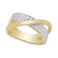 Macy's Diamond Crossover Ring in Sterling Silver or 18k Gold over Sterling Silver (1/4 ct. t.w.)