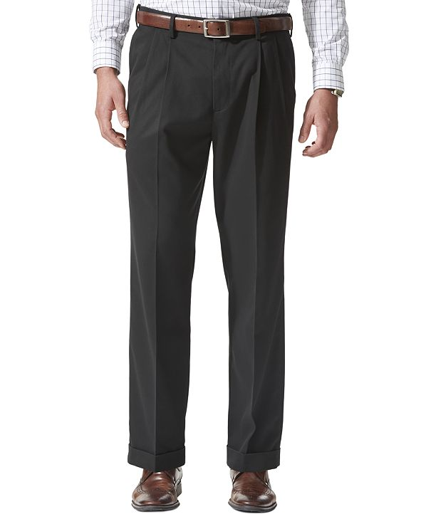 Dockers Men's Comfort Relaxed Pleated Cuffed Fit Khaki Stretch Pants
