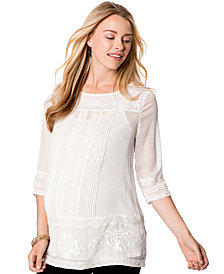 Wendy Bellissimo Maternity Lace-Trim Embroidered Blouse