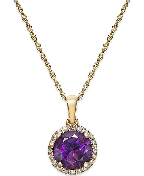 Macy's Amethyst (1-1/10 ct. t.w.) and Diamond Accent Pendant Necklace in 14k Gold