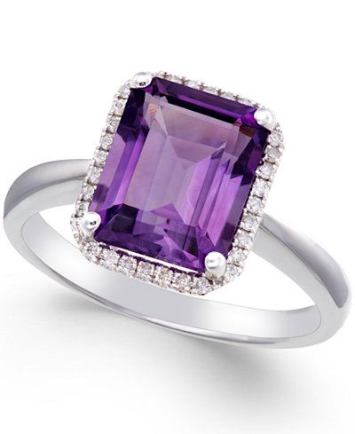 Amethyst (2 3/4 ct. t.w.) and Diamond (1/8 ct. t.w.) Ring 14k White Gold