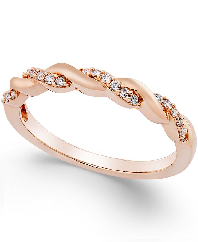 Macy's Diamond Twisted Band (1/8 ct. t.w.) in 14K Yellow, White or Rose Gold