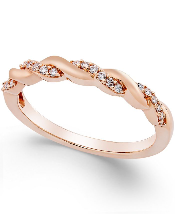 Macy's - Diamond Twisted Band (1/8 ct. t.w.) in 14k Gold