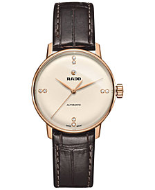 Rado Women's Swiss Automatic Coupole Classic Diamond Accent Dark Brown Leather Strap Watch 32mm R22865765