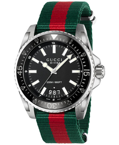 Gucci Men's Swiss Dive Red and Green Nylon Strap Watch 45mm YA136206