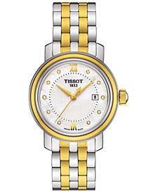 Tissot Women's Swiss Bridgeport Diamond Accent Two-Tone Stainless Steel Bracelet Watch 29mm T0970102211600