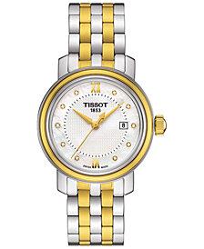 Tissot Women's Swiss Bridgeport Diamond Accent Two-Tone Stainless Steel Bracelet Watch 29mm T0970102211600