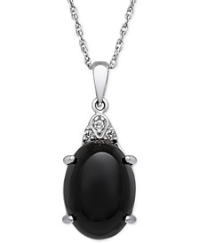 Onyx (10x14mm) and Diamond Accent Pendant Necklace in Sterling Silver