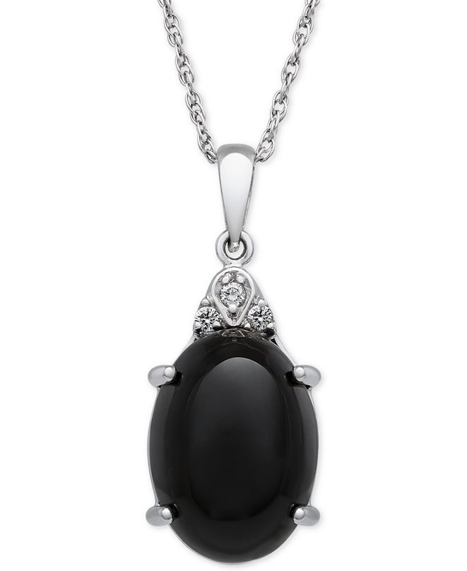 Macy's Onyx (10x14mm) and Diamond Accent Pendant Necklace in Sterling Silver