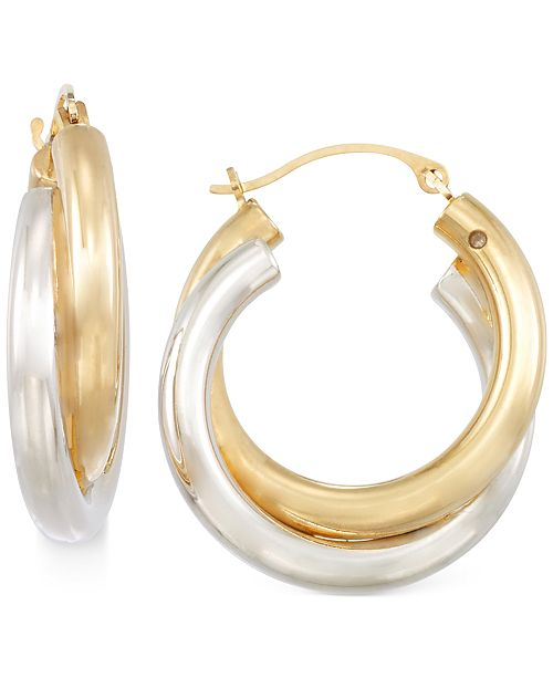Signature Gold Two-Tone Double Hoop Earrings in 14k Gold over Resin
