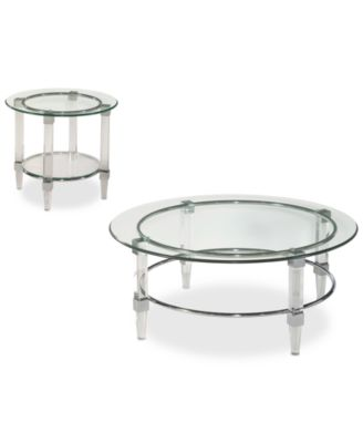 CLOSEOUT! Cristal 2 Piece Coffee & End Table Set
