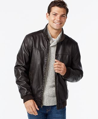 Tommy Hilfiger Faux-Leather Bomber Jacket - Coats & Jackets - Men ...