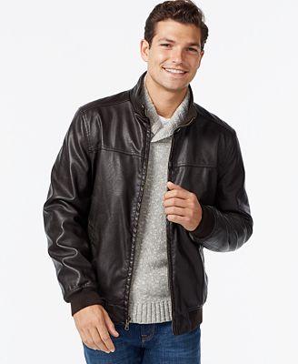 Tommy Hilfiger Faux-Leather Bomber Jacket - Coats &amp Jackets - Men