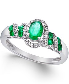 Precious Gemstone (7/8 ct. t.w.) and Diamond (1/6 ct. t.w.) Twist Ring in Sterling Silver (in Ruby or Emerald)