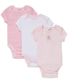 Little Me Baby Girls Sweet Bear Bodysuits 3-Pack