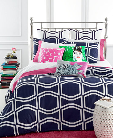 Kate Spade New York Bow Tile Navy Bedding Collection
