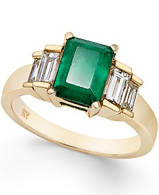 Emerald (1-5/8 ct. t.w.) and Diamond (3/4 ct. t.w.) Ring in 14k Gold