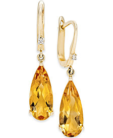 Citrine (5 ct. t.w.) and Diamond Accent Drop Earrings in 14k Gold