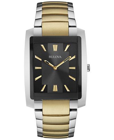 Bulova Men's Two-Tone Stainless Steel Bracelet Watch 35x45mm 98A149