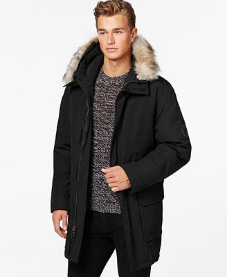 Calvin Klein Faux-Fur Hooded Jacket - Coats & Jackets - Men - Macy's