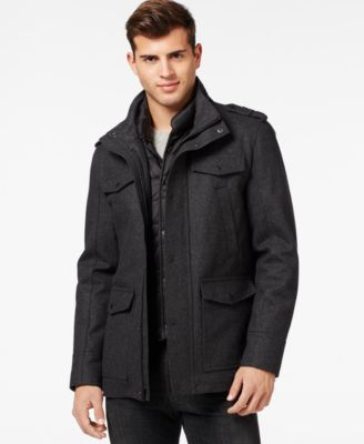 GUESS Wool Blend Jacket with Removable Bib - Coats & Jackets - Men ...